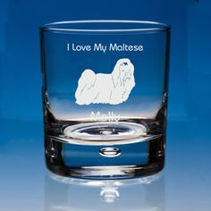 Maltese Dog Lover Gift Personalised Engraved Whisky Glass - Add your Name and Message - Birthday Gift, Mother's Day Gift, Dad Gift
