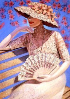 sue halstenberg chapéu fã pintura pastel laço branco da senhora do victorian inicial