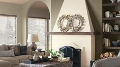 Add interest to your living room with a fresh paint color. Browse our living room color inspiration gallery to find living room ideas & paint colors. Room Paint Colors, Paint Colors For Living Room, Paint Colors For Home, White Fireplace, Fireplace Design, Stucco Fireplace, Fireplaces, Navajo White Sherwin Williams, Porches