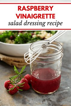 With just a few ingredients and a bit of time this sweet raspberry vinaigrette is perfect to top salads use as a marinade for red meats or drizzled on roasted vegetables. Raspberry Vinaigrette Recipe, Raspberry Vinegarette, Raspberry Salad, Vinaigrette Salad Dressing, Salad Dressing Recipes, Sweet Salad Dressings, Stuffing Recipes, Homemade Sauce, Rind