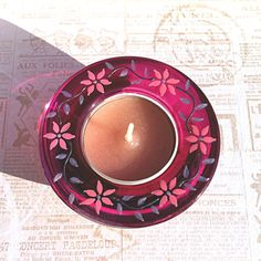 Glass Tea Light Holder in Pink  Hand Painted Glass by witchcorner, £7.00