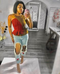 Smart Ways to Combine Ankara Tops With Jeans In 2020 Ankara Tops Blouses, Ankara Peplum Tops, Ankara Jumpsuit, African Blouses, Ankara Blouse, African Tops, Ankara Skirt, African Women, Short Ankara Dresses