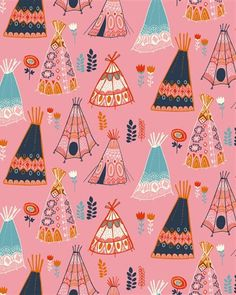wigwam teepee illustration repeat pattern print kitsch 50's art style graphic design print & pattern