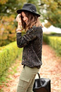 army green, black sweater
