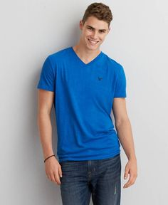 American Eagle Legend V-Neck T-Shirt, Men's, Bright Cobalt