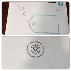 Front and back of Beach Wedding Invitations. Uses a luggage tag stamp for the front and a sand dollar address stamp for the return address on the back. #DestinationWedding