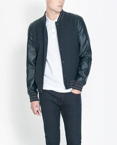 ZARA - MAN - COLLEGE JACKET WITH FAUX LEATHER SLEEVES