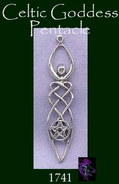 Celtic Goddess with Pentacle Pendant, Sterling Silver
