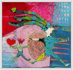 "Elke Trittel ""catch my <3 "" acrylic,collages on paper 25x25cm"