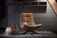 Fauteuil Reflex in cognac leer - stoere draaifauteuil - Woonwinkel Alle Pilat - Sofa Design, Furniture Design, Sala Set Design, Brown Leather Chairs, Beautiful Kitchen Designs, Interior Design Living Room, Home Decor, Mancave Ideas, Recliners