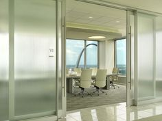 DIRTT Environmental Solutions - Center Mounted Tiles: How impressive for the formal conference rooms?! Love the way the doors look, so inviting! Frosted glass would be great so you can see if it's occupied or not.