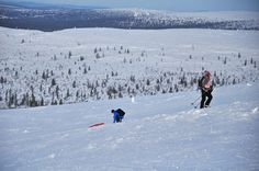 Up on the snow shoes, down on the tobo. Kiilopää, Saariselkä.  Cabins and activities in Saariselkä http://www.saariselka.com