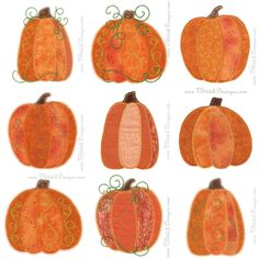 Each section of these Pumpkins can be a different fabric. 9 designs, 3 different Pumpkins each with 3 different applique outlines. SVG files and actual size templates included. Fall Applique, Pumpkin Applique, Applique Embroidery Designs, Applique Quilts, Felted Wool Crafts, Wool Felting, Felt Crafts, Penny Rug Patterns, Quilt Patterns