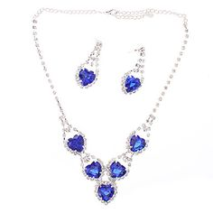 Sapphire Heart-shaped Diamond Plating Silver Earrings Necklace Suits – USD $ 4.79