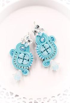 Sky blue medium ornament soutache earrings by nikuske on Etsy Green Earrings, Small Earrings, Crystal Earrings, Beaded Earrings, Etsy Earrings, Statement Earrings, Earrings Handmade, Handmade Jewelry, Soutache Bracelet