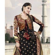 $119.99 Black Faux Georgette Net Designer Anarkali Salwar Kameez