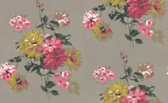 Portier Clover (P521/05) - Designers Guild Wallpapers - Elegantly painted floral bouquets reminiscent of 18th century hand printed wallpapers. Shown in rich berry pinks and metallic gold with lime green highlights on grey. Please ask for sample for true colour match.