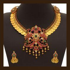Gold Antique Kasumala Set (110A19315-108A46792) | Vummidi Bangaru Jewellers