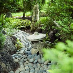 Japanese theme A dry stream bed—each stone selected and placed by the Illinois homeowner—is just one of many elements that make up this backyard Japanese garden. Japanese Garden Backyard, Japanese Garden Design, Japanese Gardens, Japanese House, Japanese Style, Garden Features, Water Features, Rustic Arbor, Meditation Garden