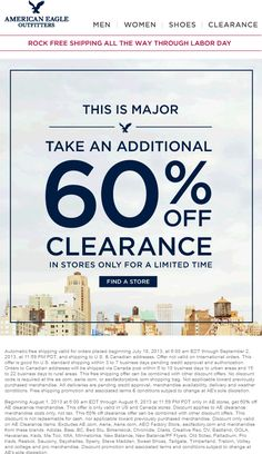 Pinned August 1st: Extra 60% off clearance items at American Eagle  Outfitters coupon via