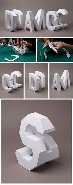 Click for more pics! | Lo Siento Creates #4D Typography Handcrafted in Paper #paper #type #typography Letras en 3D hechas en cartón. 2 letras en una