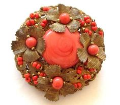 MIRIAM HASKELL Beautiful and vibrant Vintage Brooch Elegant Coral art Glass & Brass Flowers on Ebay