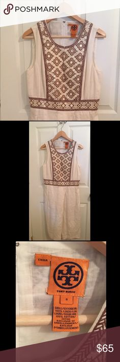 Tory Burch Sheath Dress Tory Burch white linen embroidered sheath dress. In excellent condition, no signs of wear. Tory Burch Dresses Midi