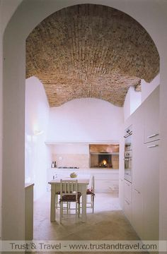 Brick vaulted ceiling.