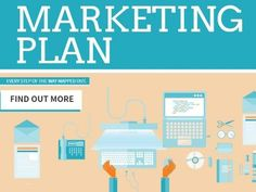 Marketing plan technology business blue template with illustrations in blue an cream easy to edit in Design Wizard.
