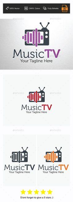 Music TV Logo Template — Vector EPS #music logo #Tv logo • Available here → https://graphicriver.net/item/music-tv-logo-template/12451181?ref=pxcr