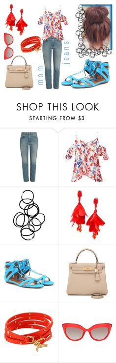 """""""check out my mom jeans...."""" by north40designs ❤ liked on Polyvore featuring Acne Studios, Tanya Taylor, Monki, Oscar de la Renta, Aquazzura, Hermès, Tory Burch, denim, momjeans and Spring2017"""