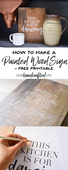 How to make a DIY painted wood quote sign with an easy tutorial using stain, chalk, and paint. Plus, download a farmhouse print for free! The cottage farmhouse printable says This Kitchen is for Dancing and it's perfect home decor for a farmhouse style kitchen. You'll love how easy it is to make your own DIY wood sign with a calligraphy or brush letter quote. Find out how to make this easy DIY quote sign without a Cricut or Silhouette. How to Paint a Wood Sign + A Free Farmhouse Print…