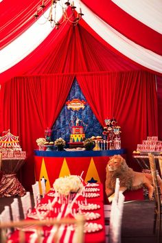 Party tables from a Big Top Circus Birthday Party on Kara's Party Ideas | KarasPartyIdeas.com