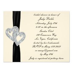 Elegant  Black Ribbon Bridal Shower Invitations  Personalize this invitation to make it your own. Change font style, color and size as well as background color and paper type by using the customize it button.   #brides