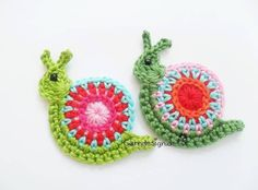 Crochet snail applique, no pattern Crochet Snail, Love Crochet, Diy Crochet, Crochet Crafts, Yarn Crafts, Crochet Flowers, Crochet Toys, Crochet Projects, Appliques Au Crochet