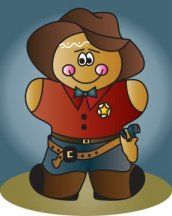Cowboy Gingerbread. https://www.facebook.com/pages/Magic-Wonder-Tags-owner-Donna-Siegrist/180355825327681?ref=hl  Some products with this design are also available in my store at www.zazzle.com/designsbydonnasiggy*  #gingerbread #christmas #clipart #cowboy