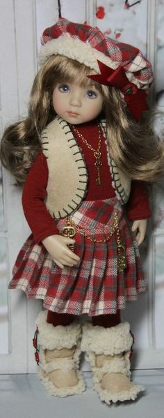 Love the Boots, Pleated Plaid Skirt, n' Hat! -  Effner E Doll