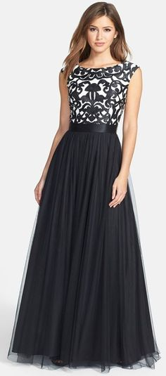 Aidan Mattox Embroidered Ball Gown with Embellished Bodice