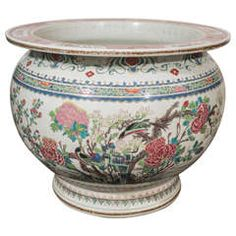 Large Chinese Porcelain Famille Rose Fish Bowl