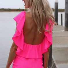 neon pink backless