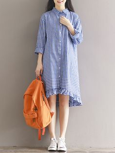 S-5XL Women Check Plaid Buttons Down Casual Long Tops Shirt Mini Dress