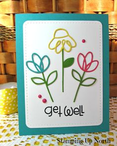 handmade get well card from stamping up north with laurie ... die cut doodle line flowers ... Paper Smooches ...