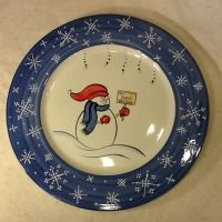 Snowman Platter with sign