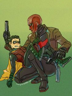 Jason Todd the Red Hood and Damian Wayne the 5th Robin