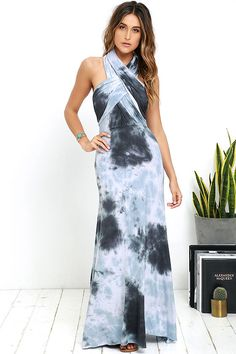 We'll quit playing games and get down to it, the Tide and Seek Convertible Blue Grey Tie-Dye Maxi Dress is what you've been searching for! Two, extra long lengths of jersey knit fabric sprout from an elastic waistband, and wrap into a variety of bodice styles! Cascading maxi skirt falls below. Want Styling Tips? <a href='http://bit.ly/HowToWearIt' target='_blank'>See How To Wear It!</a>