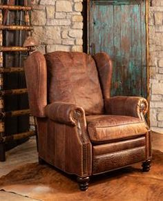 The rugged Cowboy Recliner is a favorite at Adobe Interiors. For more information call/text us at We ship worldwide! Decor, Furniture, Home Decor Accessories, Leather Furniture, Western Kitchen Decor, Log Home Interiors, Recliner, Modern Southwest Decor, Western Furniture