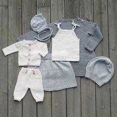 Bilderesultater for klompe lompe hentesett Baby Outfits, Kids Outfits, Knitting For Kids, Baby Knitting, Baby Items, White Shorts, Knit Crochet, Baby Kids, Girls Dresses