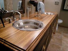 20 Bathrooms With Wooden Countertops wooden countertop design Counter Top Sink Bathroom, Vanity Countertop, Bathroom Vanity Tops, Small Bathroom, Bathroom Ideas, Redo Bathroom, Cement Counter, Sink Top, Laminate Counter