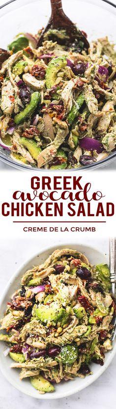 Easy healthy Greek Avocado Chicken Salad with light and creamy lemon herb dressing.   lecremedelacrumb.com #chickensalad #healthyeating #easyrecipe