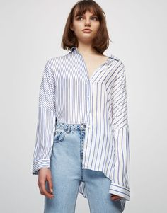 Contrast striped top - Blouses & shirts - Clothing - Woman - PULL&BEAR Israel
